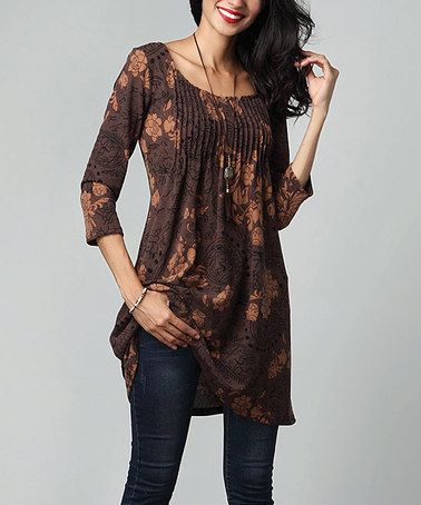 This Brown Floral Pin-Tuck Empire-Waist Tunic Dress is perfect! #zulilyfinds