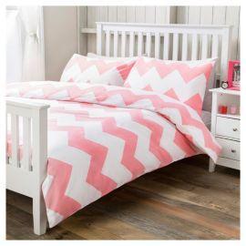 buy tesco basic chevron print duvet set db flamingo from. Black Bedroom Furniture Sets. Home Design Ideas