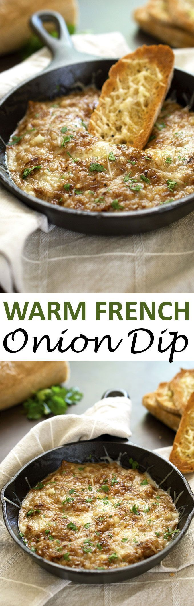Creamy Warm French Onion Dip made with caramelized onions, beef consomme, cream…