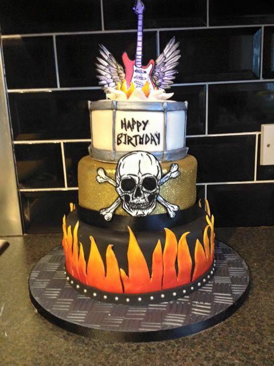 Drum flames skull music guitar rock alternative cake