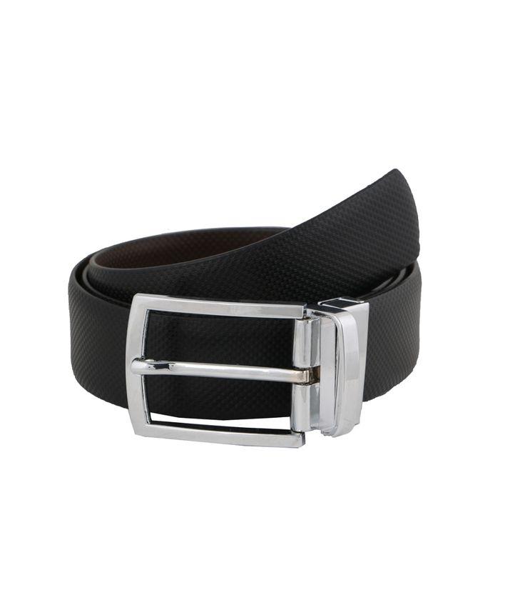 Vinson Massif Black Brown Groban Reversible Leather Belt