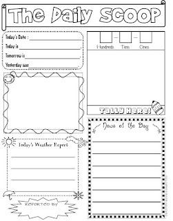 The Daily Scoop...Freebie! as seen on Kindergarten Klub  www.kindergartenklub.com