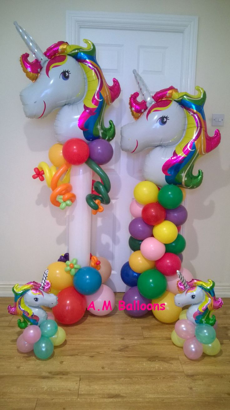 FEW different types of unicorn balloons.