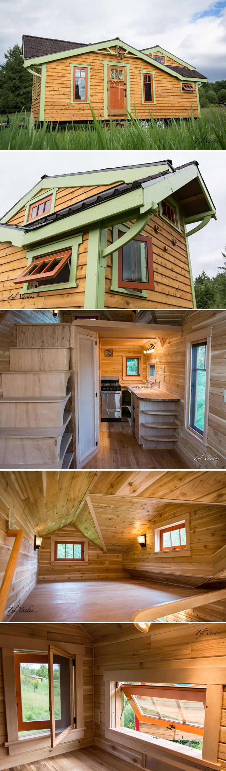A beautifully designed craftsman style tiny house by Zyl Vardos, the Fuchsia features a dutch door with stained glass and a unique roofline.