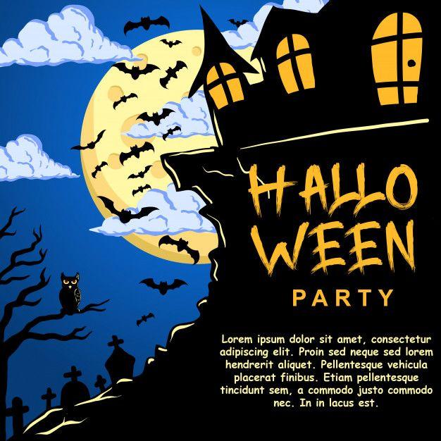 Halloween Party Invitation Template Premium Vector