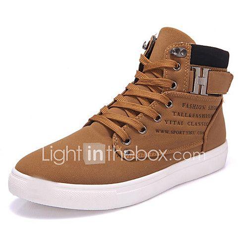 Hombre Zapatos Cuero Sintético / Sintéticos Verano Suelas con luz Zapatillas de deporte Negro / Rojo / Caqui HU0sjdr