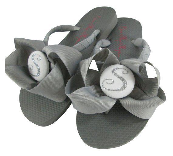 Gray and Silver Glitter Bow Flip Flops Bridesmaid Flip Flops
