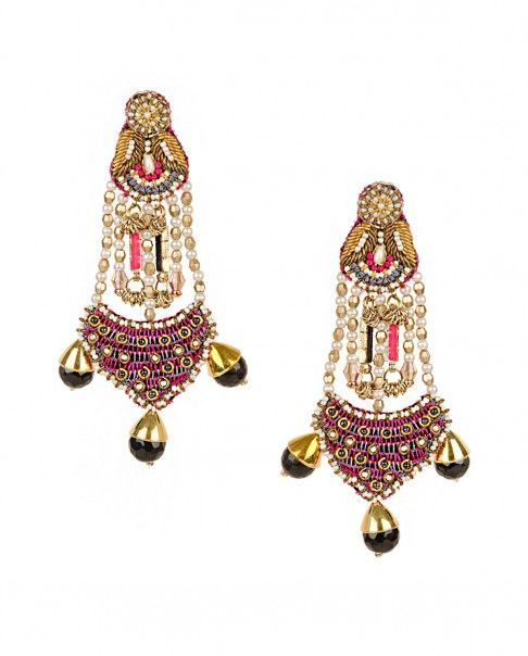 Embroidered Chandelier Earrings With Black Stone Drops