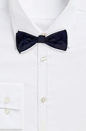 $75, Hugo Boss Bow Tie Piping Silk Bow Tie. Sold by Hugo Boss. Click for more info: https://lookastic.com/men/shop_items/53662/redirect