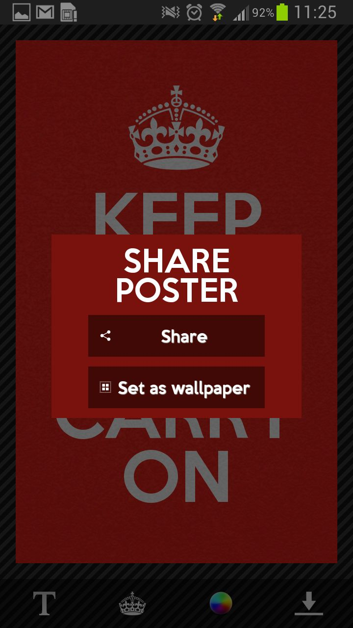 Keep Calm Generator | Keep Calm Generator is a brand new free Keep Calm App for Android. You will be able to modify the text and text size, background color and you also have a huge collection of icons to set. As you could change the text size you should fit any text you want! http://www.airomo.com/apps/1598887#details