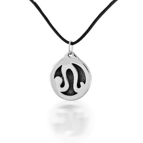 Leo Zodiac Pendant Oxidized Sterling Silver with Leather Cord