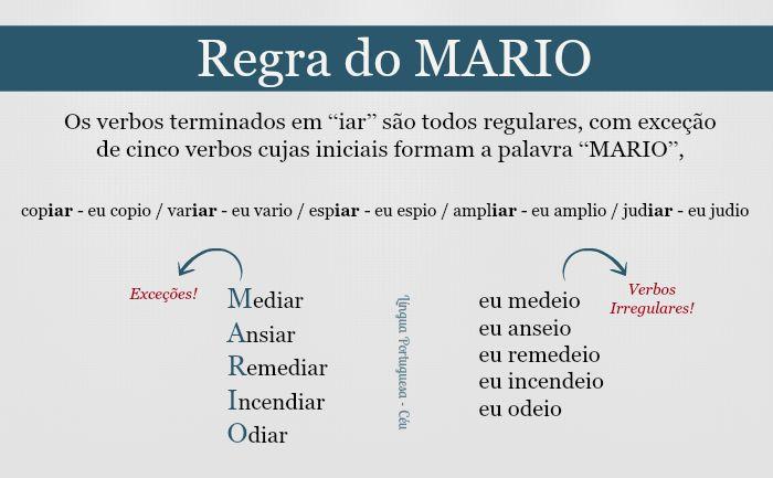 """regra do mario - Os verbos terminados em """"iar"""" são todos regulares, com exceção de cinco verbos cujas iniciais formam a palavra """"MARIO"""","""