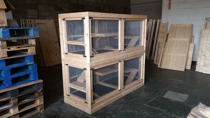 Bespoke Ferret Cage that is 200cm x 80cm x 200cm with the following features: Two floors, 6 shelves with removable ramps, removable front and side doors, bespoke made removable plastic trays, 16G wire mesh with holes 1cm x 1cm. It has been made to make cleaning easier which is why the doors can be removed on the front and sides.  Handmade Ferret Cage Made By Boyles Pet Housing