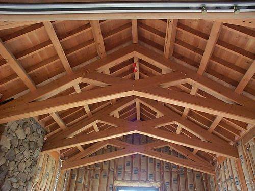 Scissor truss home design ideas pinterest scissors for Exposed roof trusses images
