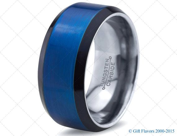 mens tungsten ringblue black men tungsten ringsblue wedding bandspolice ring