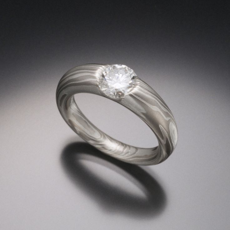 Elegant and Simple Diamond Mokume Gane Engagement Ring for Women with Smooth