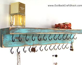 Distressed Wood Jewelry Holder: Shabby Chic Decor - Teal w/25 Black Hooks; Rustic Decor Necklace Organizer; Multiple colors/sizes available!