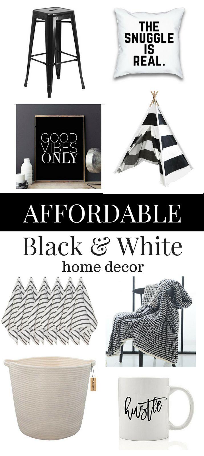 22 Black and White Budget Friendly Home Decor Pieces You'll Love! Black and White Home Decor. Black and White Accessories. Decorating in Black and White. Black and White Pillows. Black and White Stripes. Black and White Decorations.