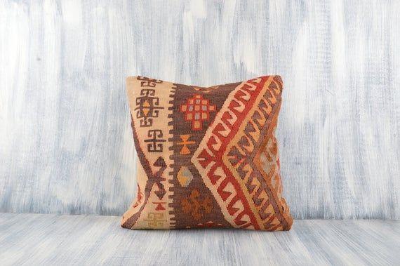 Kilim Rug Sofa Throw Pillow Bohemian Kilim Pillow Home Decor Decorative Throw Pillow 16x16 Vintage Kilim Pillow Kilim Cushion Cover