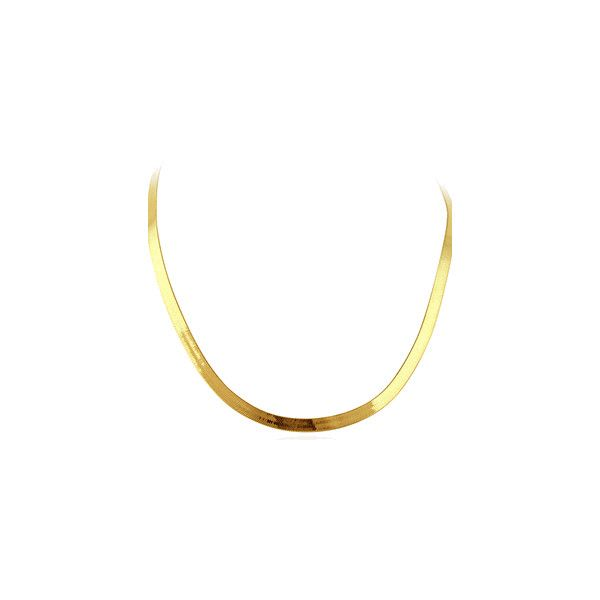 """14K Yellow Gold 3.5mm Herringbone Chain Necklace 16"""" ($530) ❤ liked on Polyvore featuring jewelry, necklaces, accessories, chains, chains jewelry, 14k necklace, yellow gold necklace, gold necklace and gold jewellery"""