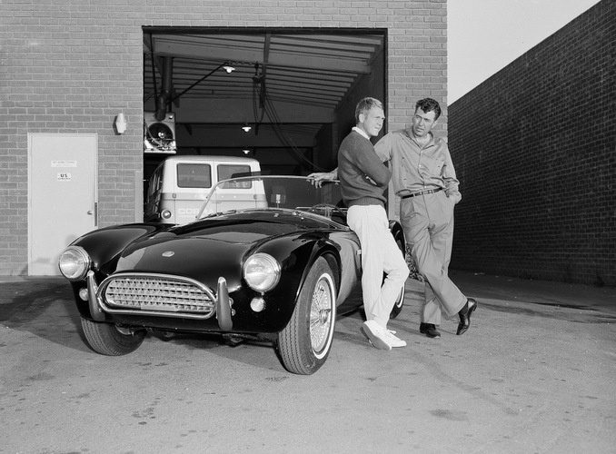 Carroll Shelby and Steve McQueen next to Steve's Ford Cobra in 1963