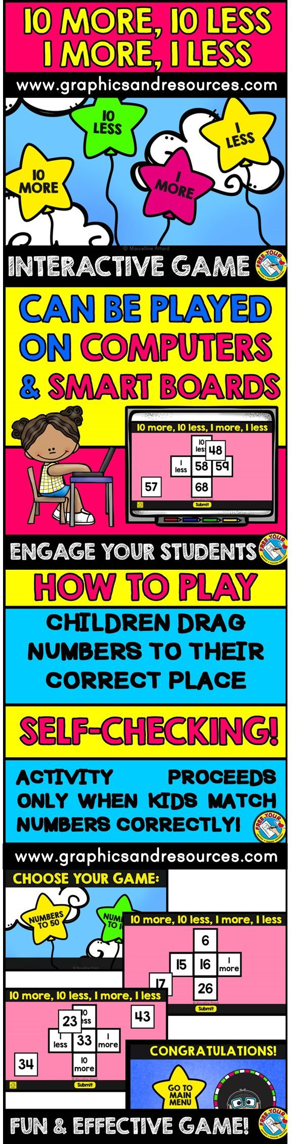 A fun, digital interactive game for children to practice 10 more, 10 less, 1 more and 1 less. This game is designed to be used on a computer or interactive whiteboard. After kids drag the 4 numbers onto the correct box, they click on 'Submit' button to check if they got the answers correct.
