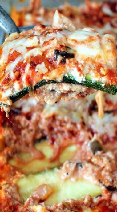 *Low Carb Zucchini Lasagna with Spicy Turkey Meat Sauce I added one layer of mushrooms and only used 28 oz. crushed tomatoes