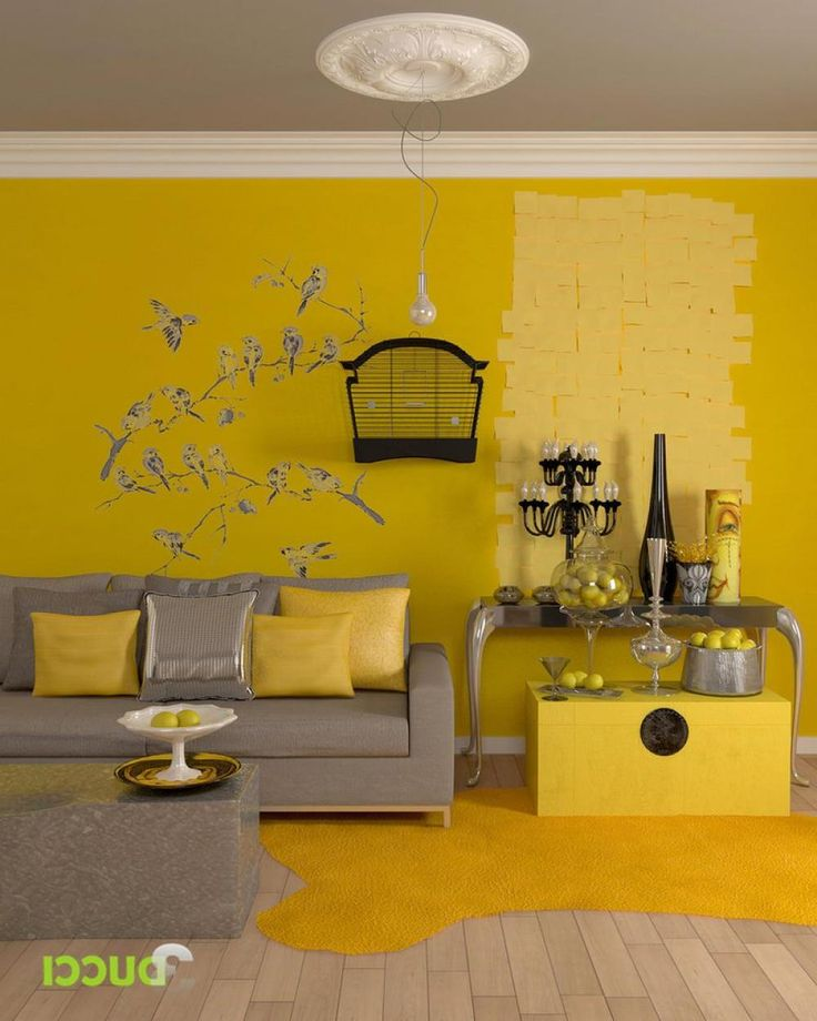 Modern Home Decorating Ideas For Spring With Bird Themed Decorations Sticker Wall Yellow Living Room Interior