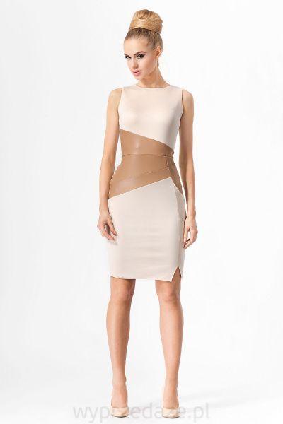 Seksowna klasyczna sukienka  Oryginalna sukienka ze skórzaną wstawką w okolicy talii pięknie podkreśla kobiece kształty i nadaje sylwetce smukły wygląd.  Klasyczny prosty krój sprawia, że sukienka pasuje na każdą kobiecą figurę    Sukienka bez rękawów, z elastycznego materiału, z krytym suwakiem na plecach.  Dopasowane, klasyczne sukienki ze skórzanymi wstawkami idealne na przyjęcia, wesela i spotkania ze znajomymi.  Materiał dominujący: poliester 100%