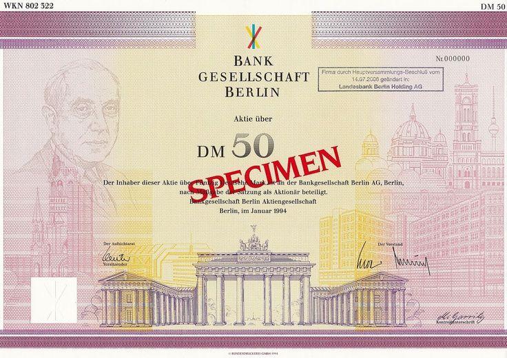 Bankgesellschaft Berlin, Aktie, 50 DM-1/1994, Muster