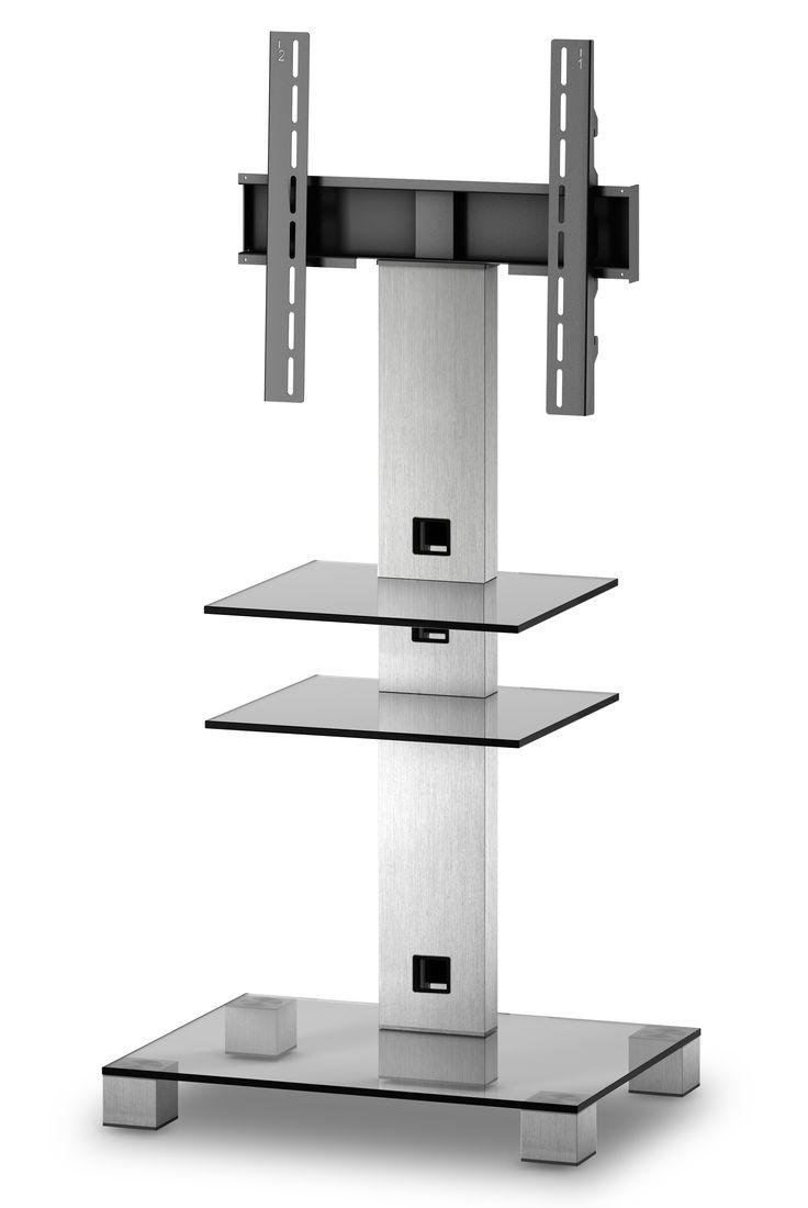 ELBE PL-2525-C-INX MUEBLE SOPORTE PARA TELEVISIÓN - Mueble soporte para televisión. - Para pantallas de hasta 50 pulgadas. - Peso soporte hasta 50 kg. - Materiales: Cristal, aluminio y soporte de hierro. - Colores: Cristal claro con columna trasera y patas INOX. - (An-Al-Pr): 65 x 126 x 50 cm. - Peso: 19.2 kg.