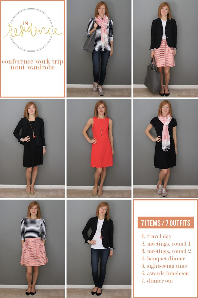 In Residence | work trip outfits - 7 items, 7 ways. Great tips for planning a trip capsule wardrobe!