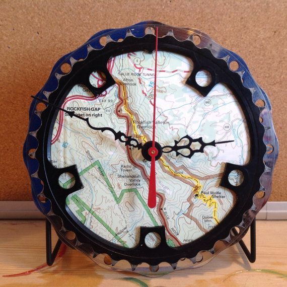 recycled bicycle parts desk clock made with appalachian trail map on etsy