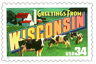 The Wisconsin State Postage Stamp  Depicted above is the Wisconsin state 34 cent stamp from the Greetings From America commemorative stamp series. The United States Postal Service released this stamp on April 4, 2002. The retro design of this stamp resembles the large letter postcards that were popular with tourists in the 1930's and 1940's.