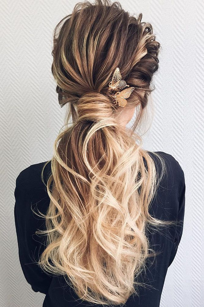wedding guest hairstyles on long hair volume ponytail geller makeupstyle via instagram