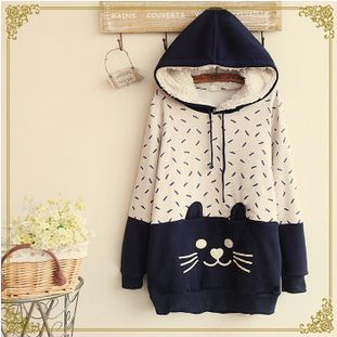 """Cute cat hooded fleece pullover Cute Kawaii Harajuku Fashion Clothing & Accessories Website. Sponsorship Review & Affiliate Program opening!so fashionable and sweet, use this coupon code """"Fanniehuang"""" to get all 10% off"""