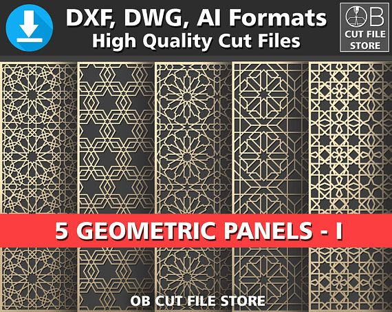 5 islamic geometric pattern panel templates dxf dwg ai