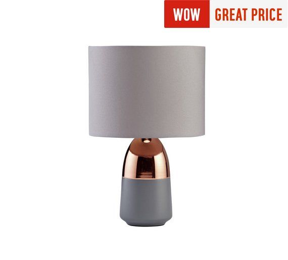 Buy Argos Home Duno Touch Table Lamp Grey Copper Table Lamps Copper Table Lamp Grey Table Lamps Touch Table Lamps