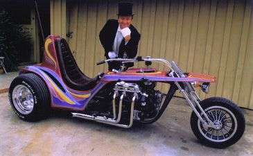Asphalt Angel is a trike powered by a Buick V-6. Description from ratfink.com. I searched for this on bing.com/images