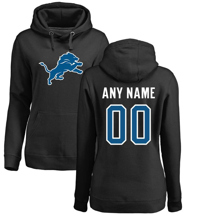 Women's Detroit Lions Pro Line Black Any Name & Number Logo Personalized Pullover Hoodie-3XL