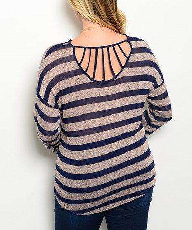 Look what I found on #zulily! Navy & Khaki Stripe Tee - Plus #zulilyfinds