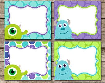 Diy INSTANT DOWNLOAD Monster Inc Inspired Birthday Party Digital PRINTABLE Fold Over Food Labels