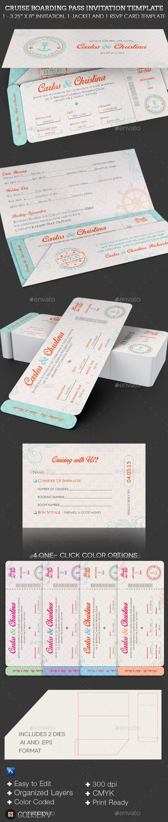 Wedding Cruise Boarding Pass Invitation Template - Weddings Cards & Invites