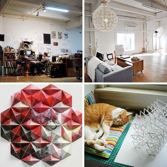 área social del estudio del artist and designer Matthew Shlian
