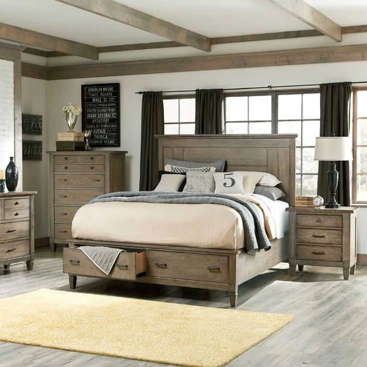 Brownstone Village Panel Bed - Aged Patina - Transform your bedroom with the sophisticated look of the Brownstone Village Panel Bed - Aged Patina. This bed features tapered legs and an asymmetric...