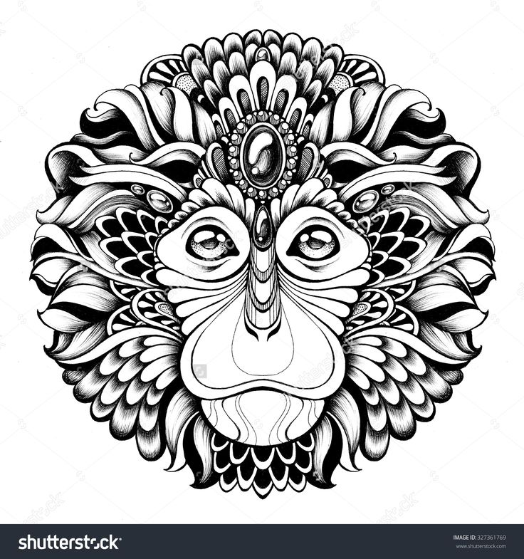 the monkey king highly detailed abstract ornate zentagle monkey illustration head monkey with ethnic