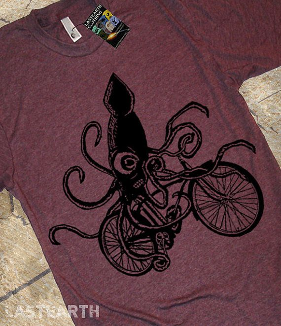 Squid on a Bike T Shirt  Men's American Apparel by lastearth