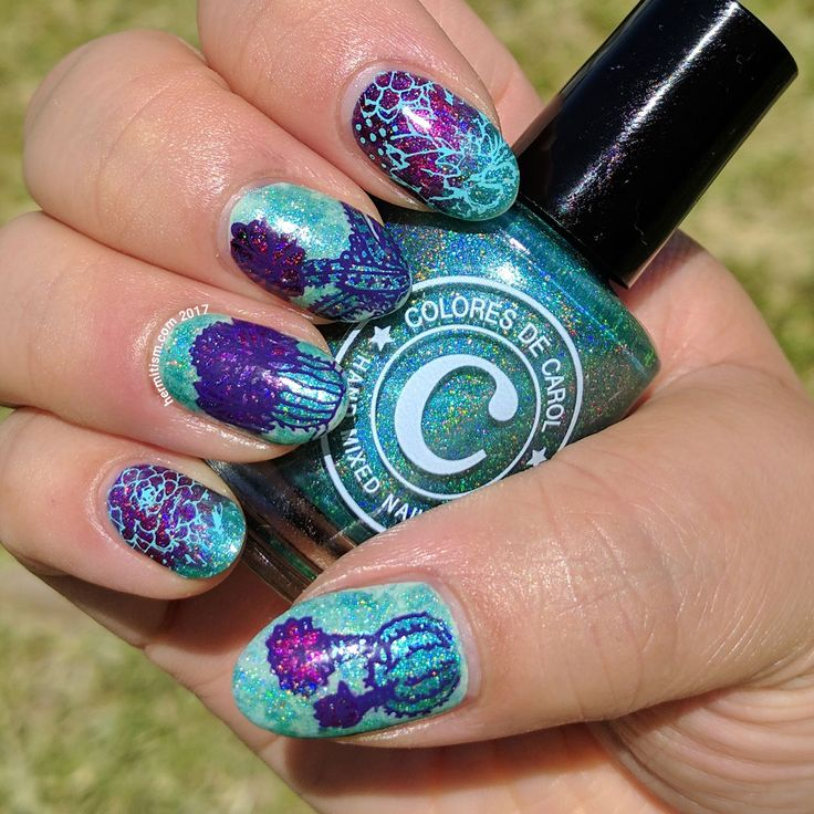 Holographic Cactus - Hermit Werds - green and magenta nail art