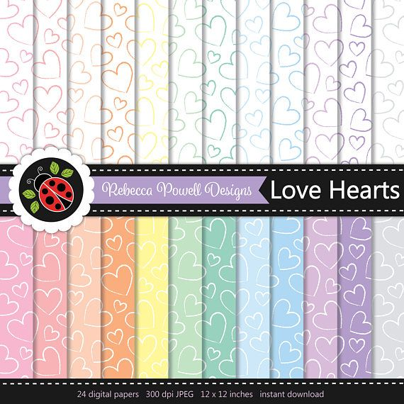 Set of 24 pastel colours & white digital papers with a hand drawn  hearts pattern. Perfect for Valentine cars and wedding invites. Available for instant download from Etsy.