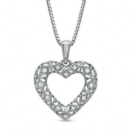 Diamond Openwork Heart Cluster Pendant 1//6ct 10k Yellow Gold